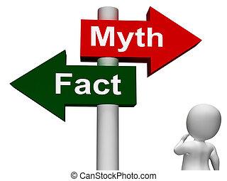 mito, poste indicador, hechos, mitología, o, hecho, exposiciones