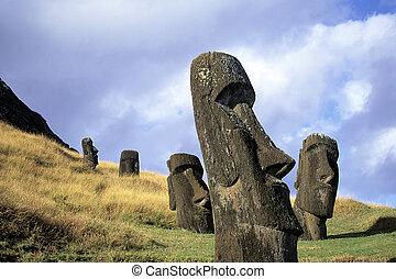 Moai-Este de la isla, chile