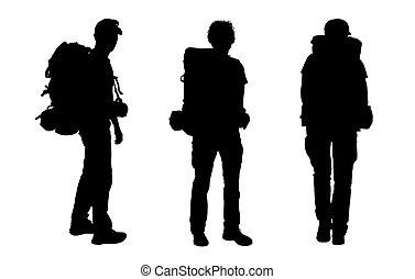 mochilero, siluetas, conjunto, macho