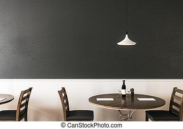 Mockup pared negra en el café hipster