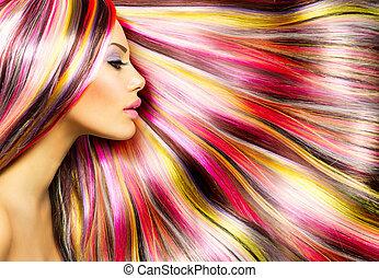 moda, belleza, colorido, pelo teñido, modelo, niña