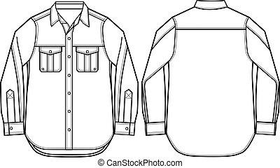 moda, camisa, ilustración, hombres