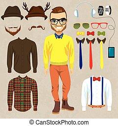 Moda de muñeco de papel Hipster