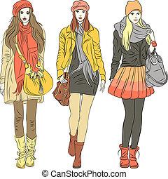 moda, elegante, niñas, tibio, vector, ropa