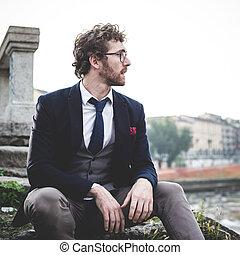 moda, estilo de vida, elegante, hipster, atractivo, hombre
