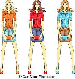 moda, niñas, vector, cima, modelos, hermoso
