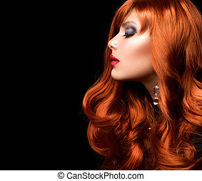moda, ondulado, hair., retrato, niña, rojo