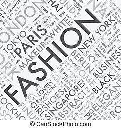 moda, palabra, tipografía, etiqueta, t, nube