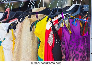 moda, ropa, perchas, exposición