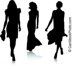 moda, silueta, mujeres