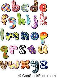 modelado, caso, más bajo, alfabeto