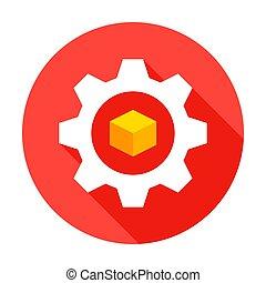 modelado, engranaje, icono, 3d, círculo
