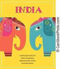 modelado, -, india, plano de fondo, elefantes