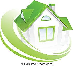 Modelo de casa con círculo