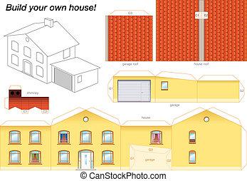 Modelo de papel amarillo casa
