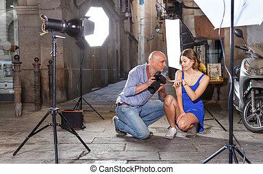 modelo, fotógrafo, fotos, niña, cámara, actuación