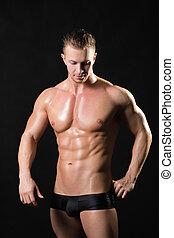 modelo, fuerte, muscled, brazos, macho