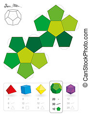 modelo, papel, dodecahedron