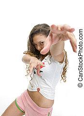 modelo, postura, hembra, bailando