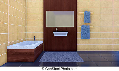 Modern minimalista interior de baño con bañera