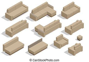 moderno, aislado, conjunto, fondo., isométrico, tela, muebles, sofá blanco