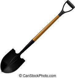 moderno, aislado, ilustración, cómodo, shovels., backg, blanco