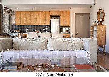 moderno, apartamento, pequeño, salón, interior