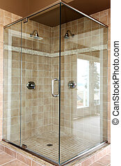 moderno, caminata, ducha, vidrio, beige, nuevo, tiles.