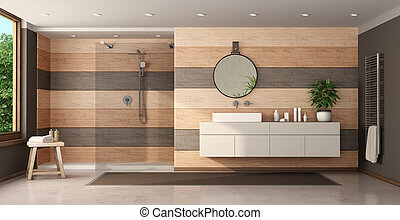 moderno, de madera, lavabo, ducha, cuarto de baño