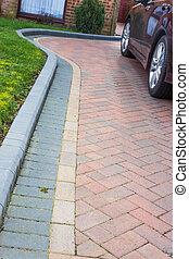 moderno, entrada de coches