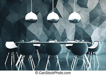moderno, equipo, sala juntas, mesa.