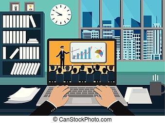 moderno, idea, concept., blanco, finanzas, idea genial, vector, éxito, trabajo en equipo, notebook., empresa / negocio, hombres de negocios, teclado, rise., mecanografía, ayuda, lograr, mano, reunión