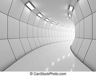 moderno, largo, pasillo