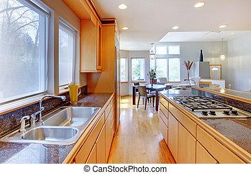 moderno, mostrador, grande, madera, lujo, granito, tops., cocina