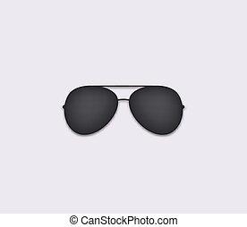 moderno, ojos, aviador, glare., proteger, negro, accesorio, icon., gafas de sol