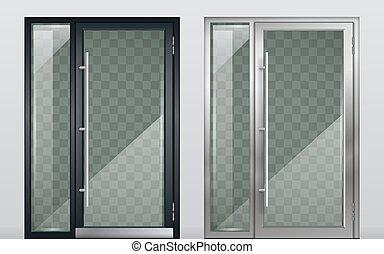 moderno, puertas, conjunto, blanco, entrada, negro