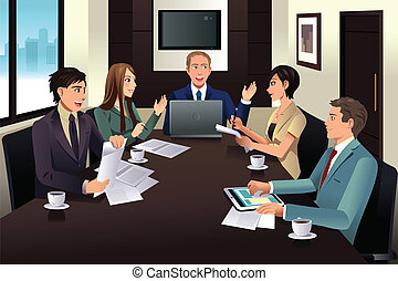 moderno, reunión, oficinacomercial, equipo