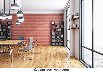 moderno, sala juntas, interior, oficina