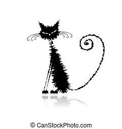 mojado, gato, negro, su, diseño, divertido