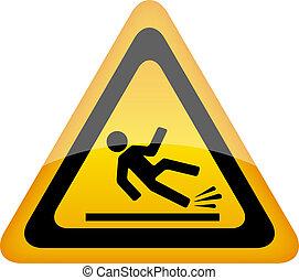 mojado, señal de peligro, piso