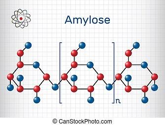 Molécula de Amy. Es un polisacárido y uno de los dos componentes del almidón. fórmula química estructural y modelo molecular. Una hoja de papel en una jaula