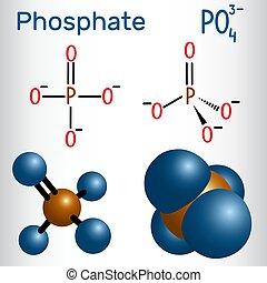 molécula, fórmula, estructural, anion, fosfato, modelo, químico