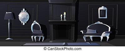 moldings, vestíbulo, negro, plata, lujo
