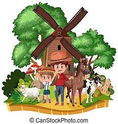 molino de viento, casa, aislado, campo