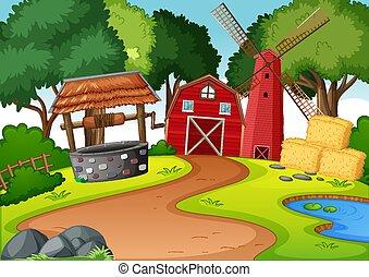 molino de viento, escena, granero, rojo, granja