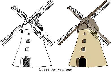 molino de viento tradicional, holandés