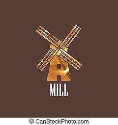molino, ilustración, icono
