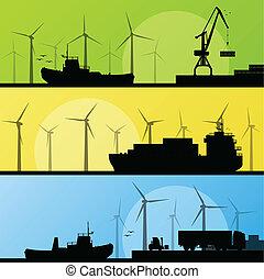 molinos de viento, electricidad, cartel, lin, océano, puerto, generadores, mar, viento