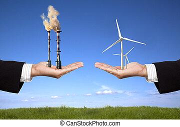 molinos de viento, tenencia, energía, aire, refinería, limpio, hombre de negocios, concept., contaminación