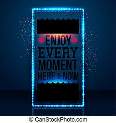 momento, now., motivar, gozar, cada, image., vector, fondo., cartel, náutico, aquí